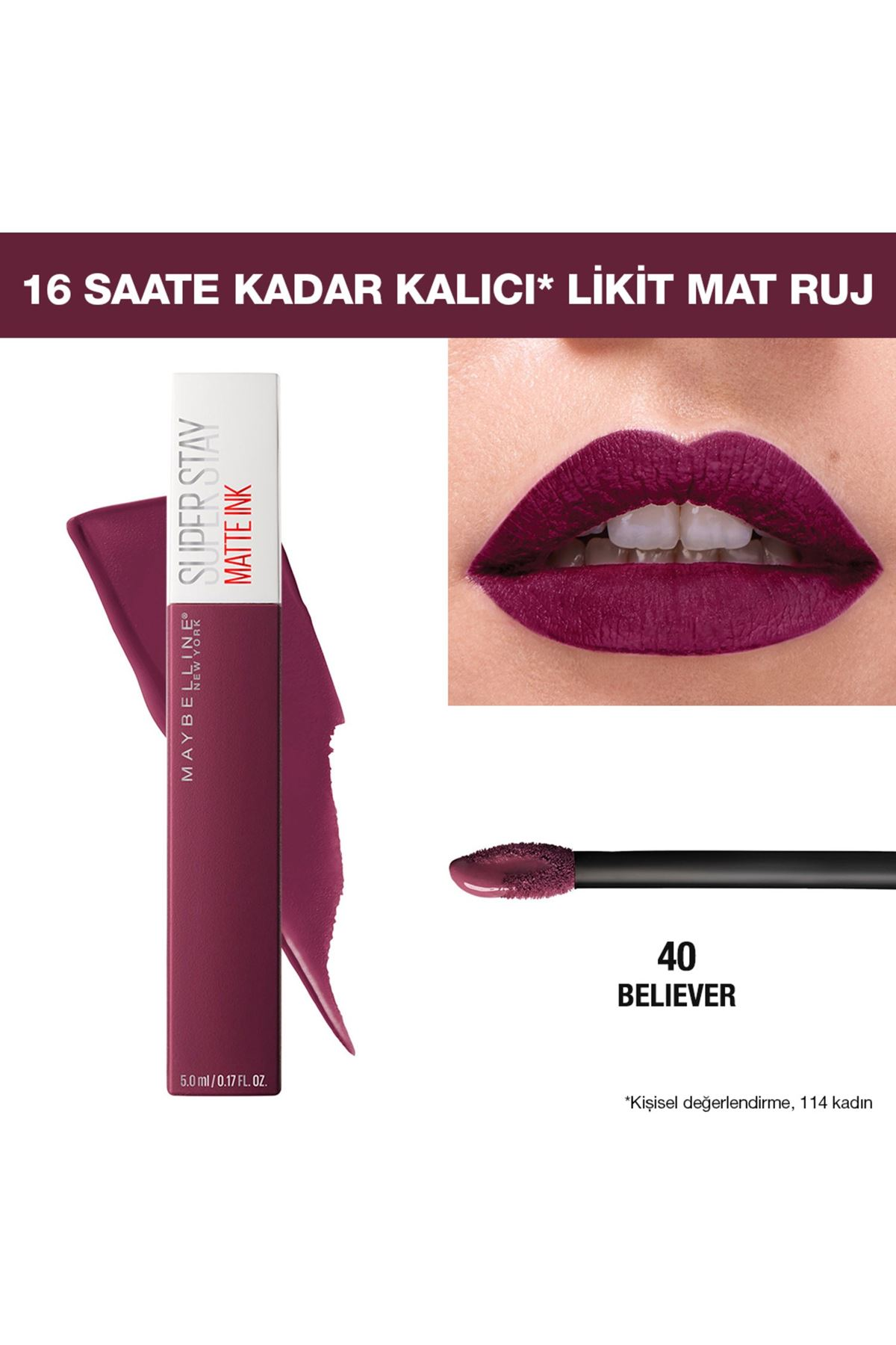 Maybelline New York Super Stay Matte Ink Likit Mat Ruj 40 Believer